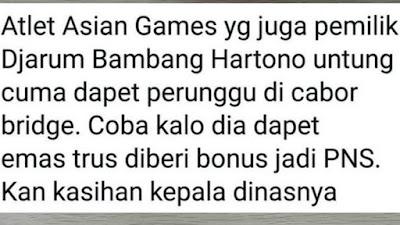 5 Meme Lucu 'Bambang Hartono' Orang Kaya Dapat Bonus Asian Games
