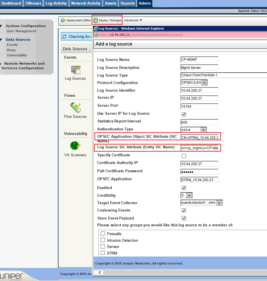 Forwarding Checkpoint Management Server Firewall logs to an