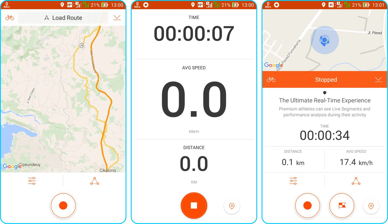 Strava Running and Cycling GPS - Memulai Penghitungan Record Activity