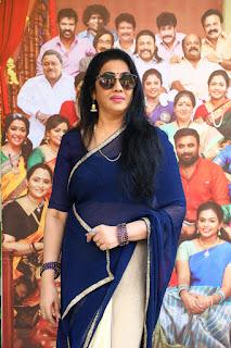 Old Golden Actress Rekha in Blue Saree at Rajavamsam Movie Audio Launch