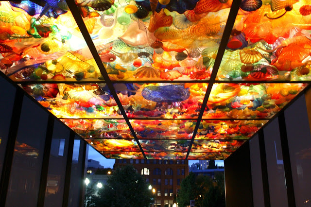 Bridge of Glass created by Dale Chihuly at night in Tacoma Washington