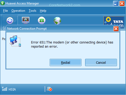 651 :The Modem (or other Connecting Device) has Reported