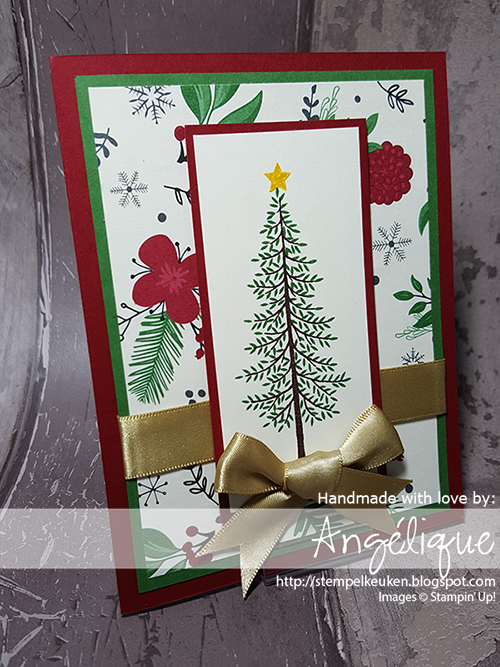 http://stempelkeuken.blogspot.com/2016/07/christmas-in-july-thoughtful-branches-2.html Stempelkeuken. Thoughtful Branches, Garden Green, Cherry Cobbler, Gold Satin Ribbon