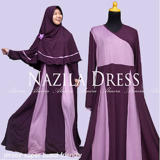 Baju Gamis Muslim Menyusui Modis Nazila Dress Ungu