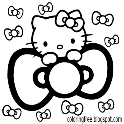 Ribbon hair bow Hello kitty colouring book sheets free charming printables for teenage girls artwork