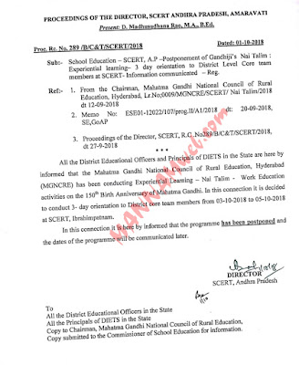 Postponement of Gandhiji's Nai Talim 3day orientation to district level core team members ,Rc.1/10/18
