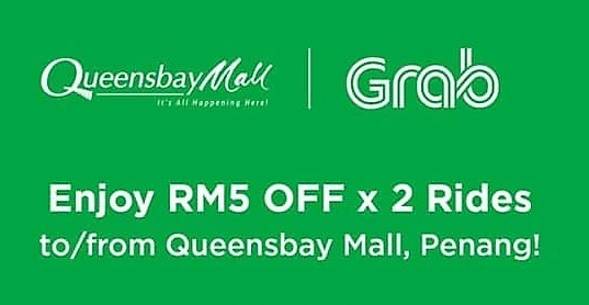 2 x Grab Promo Codes to / from Queensbay Mall Penang - Promo