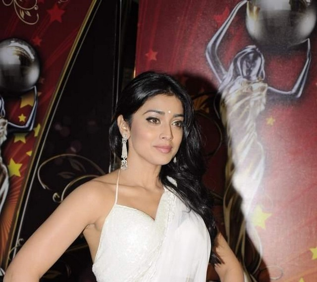 hot celebrities pics bollywood actress shriya saran sexy pics photos in white saree in global indian film awards