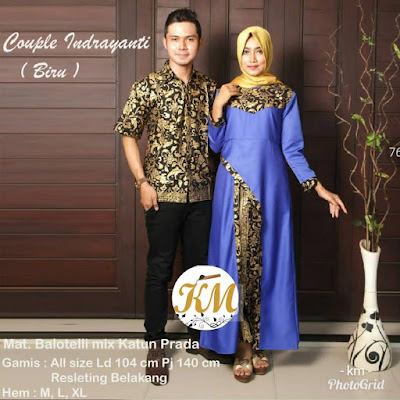 Batik Couple Hijab Indrayanti Dress Panjang kombinasi polos warna Biru