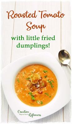 tomato soup with crisp little fried dumplings
