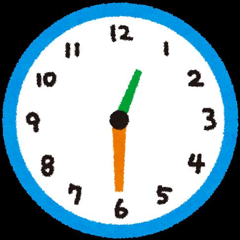時計のイラスト 「30分毎の時間...