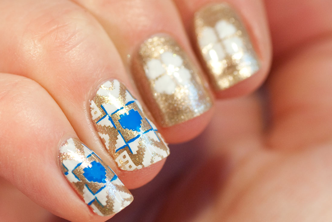 Gold Snowflake Manicure stamped with MoYou London Festive 37