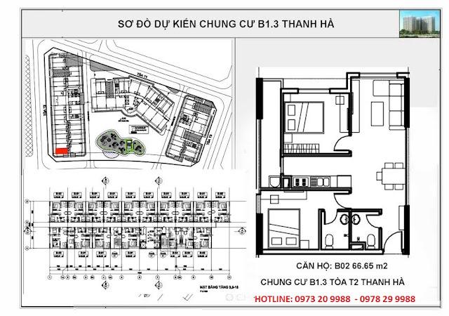 Sơ đồ mặt bằng căn hộ B02 tòa T2 chung cư B1.3 Thanh Hà