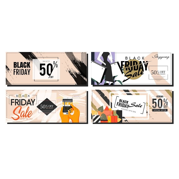 black friday banners classical grunge products decor free vector