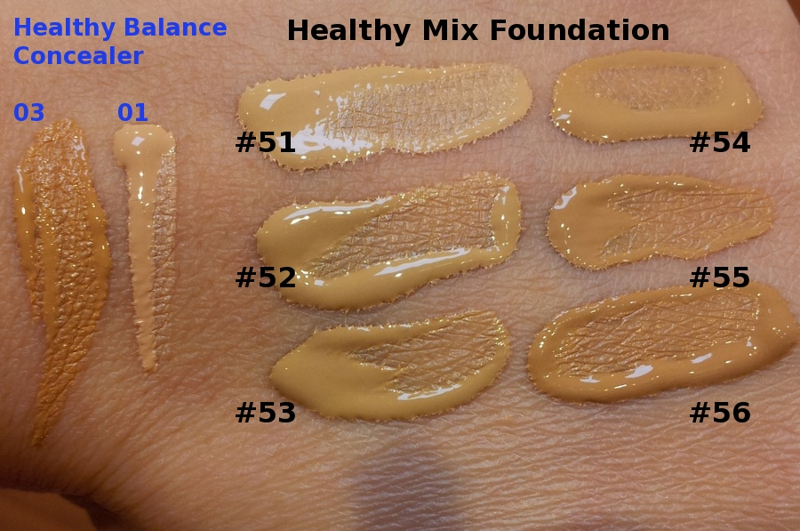 Rouge Deluxe Bourjois Radiance Reveal Healthy Mix Foundation Swatches