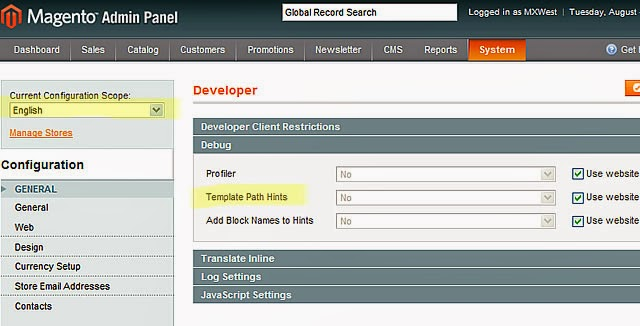 Turn On Template Path Hints in Magento