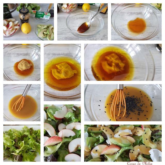 Ensalada de aguacate y manzana con vinagreta de mostaza y miel
