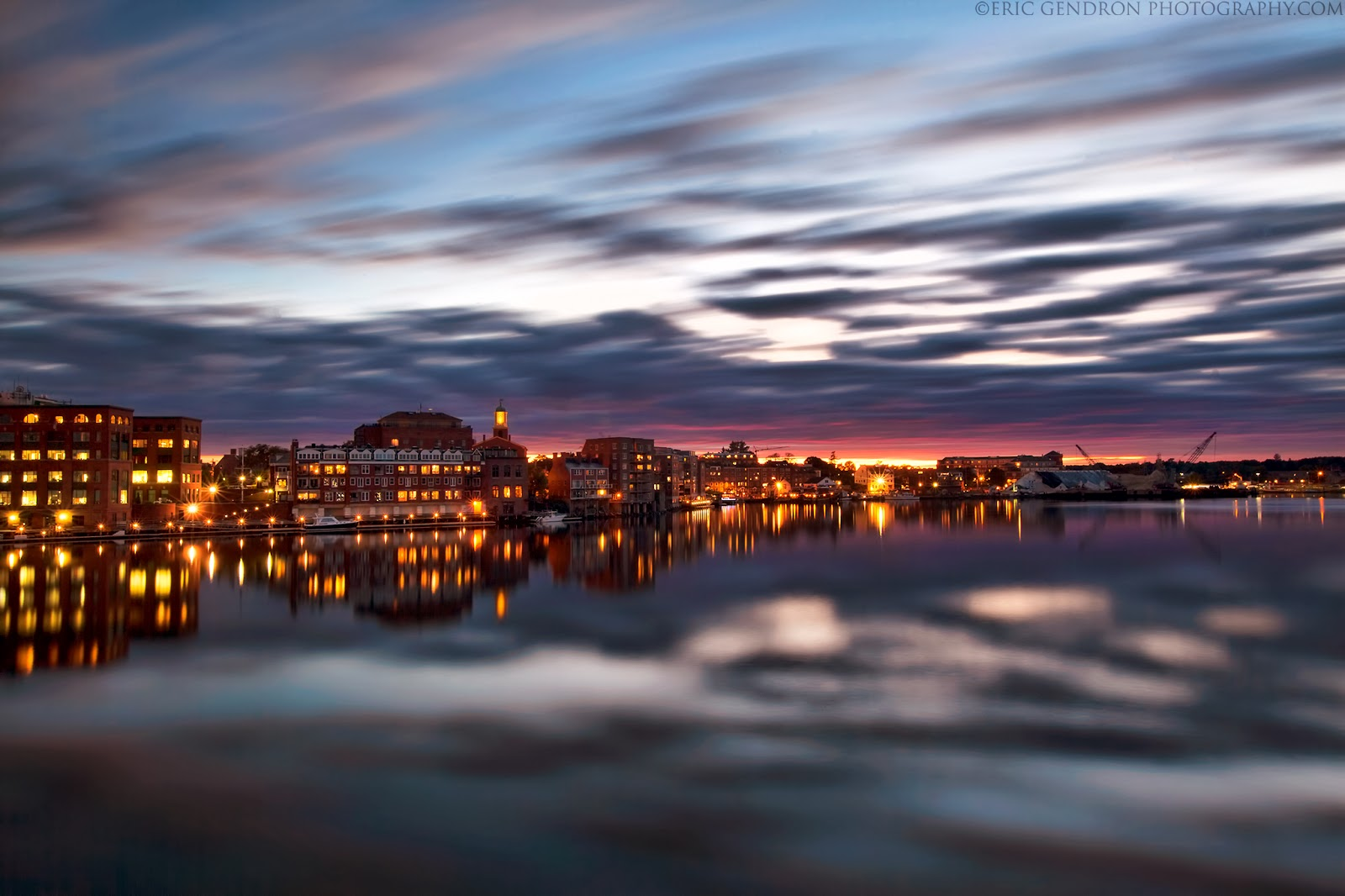 sunset on the portsmouth harbor waterfront