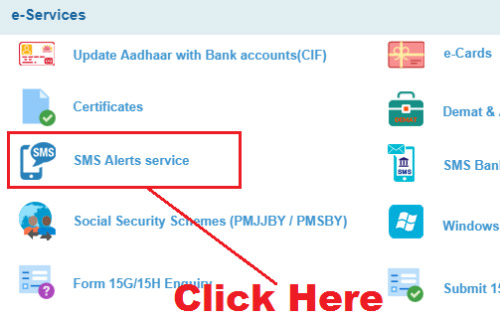 how to activate sms alert in sbi net banking