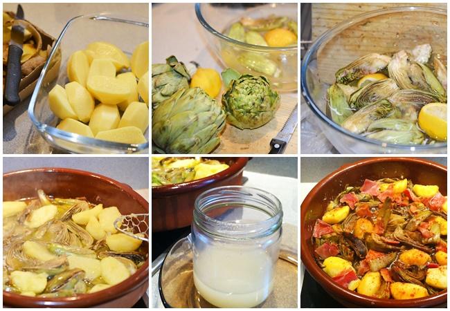Guiso de alcachofas con patatas y jamón