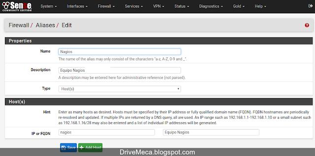 DriveMeca monitoreando un firewall pfSense con NRPE en un Nagios