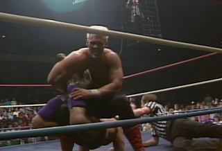 NWA CLASH OF THE CHAMPIONS 1 - 1988: Sting holds Ric Flair in the Scorpion Death Lock in the closing moments of their World Title Match