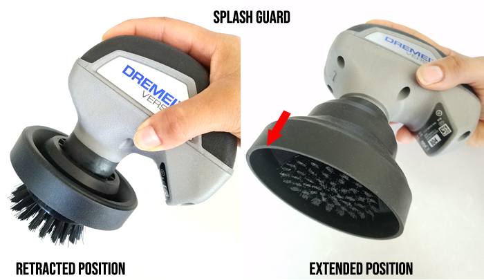 dremel versa with retracted and extended position splash guard