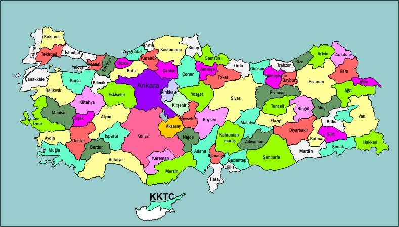 şehirler haritası خريطة المدن التركية