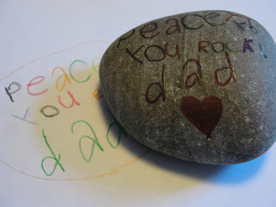 Coloured rock for father's day