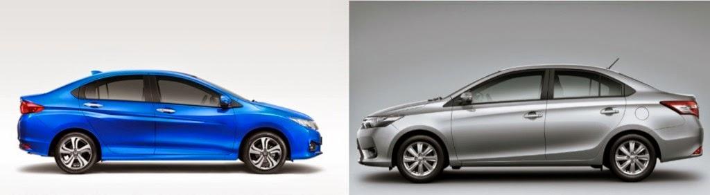 Honda City (trái) và Toyota Vios 2014