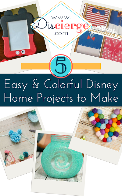 Easy DIY craft projects, roundup featuring five Disney home decor projects. Make your home a Disney home. | Easy Disney crafts, DIY home decor. | #DisneyCrafts #disneydiy