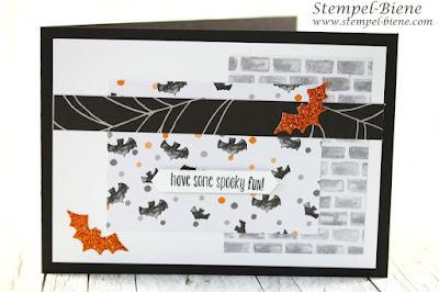Halloweenkarte; Fledermauskarte; stampinup spooky fun; Einladungskarte Halloweenparty; Zauberfledermäuse; stampin up halloween, stempel-biene