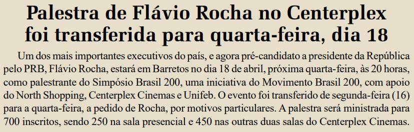 Alteração da data da palestra de Flávio Rocha