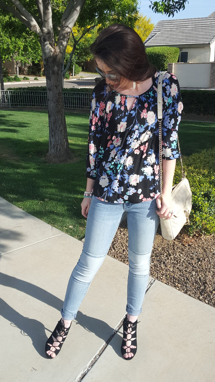 Spring outfit- florals and lace up shoes