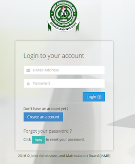 Jamb Profile Login Page