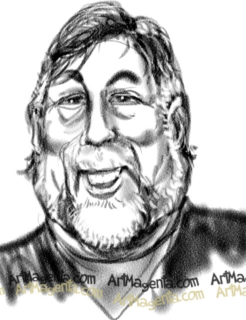 Steve Wozniak caricature cartoon. Portrait drawing by caricaturist Artmagenta
