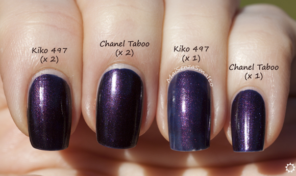 Kiko 497 vs Chanel Taboo