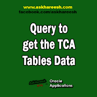 Query to get the TCA(Trading Community Architecture) Tables data, www.askhareesh.com