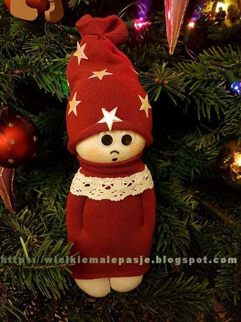 skarpetkowe lalki, skarpetkowe wytwory, lalki ręcznie szyte, Boże Narodzenie, świąteczne ozdoby