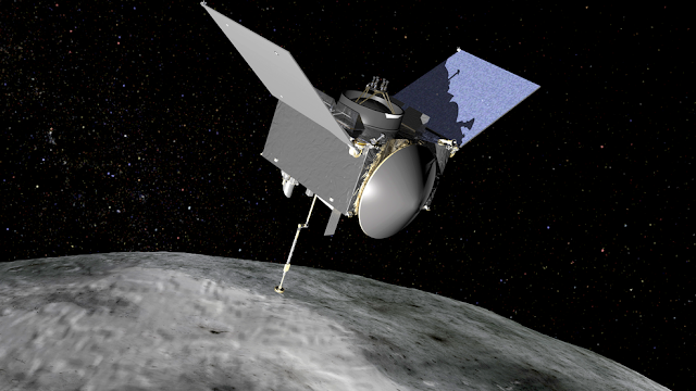 Artist's conception of the OSIRIS-REx spacecraft at Bennu. Credits: NASA/GSFC