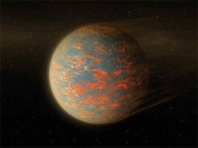 No lado solar do planeta, a lava seria líquida