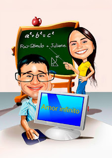 caricatura de casal professora e técnico em informática