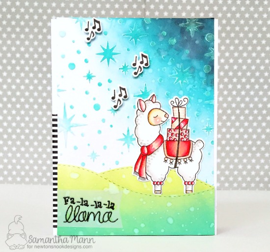 Llama Holiday card by Samantha Mann | Llama Delivery Stamp Set and Starfield Stencil by Newton's Nook Designs #newtonsnook #handmade
