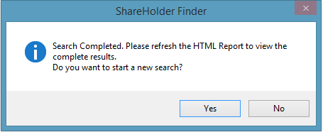 ShareHolder Finder Search Completion Status