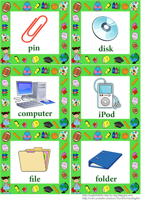 school vocabulary flashcards with words for learning english