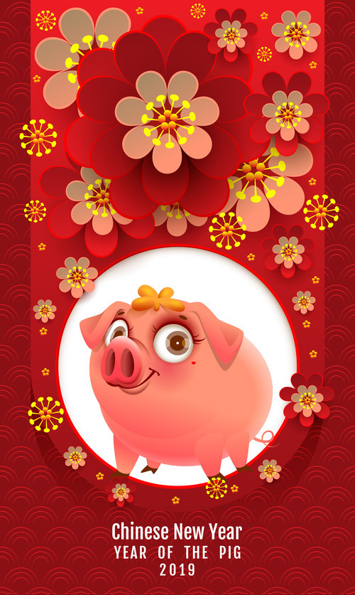 Chinese new year of the pig 2019 vector free vector file