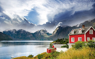 Norway beautiful landscapes fjord mountains red house sea