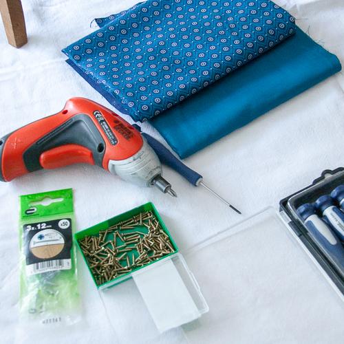 matériel nécessaire et shweshwe bleu