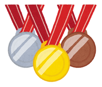 オリンピックのイラスト「金銀銅メダル」