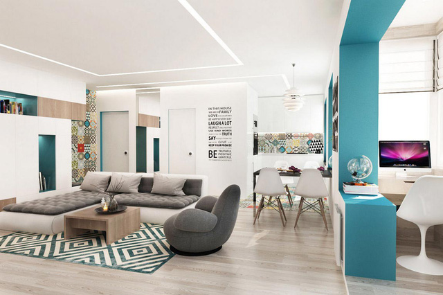 Thiết kế căn hộ 55m2 - Phòng khách